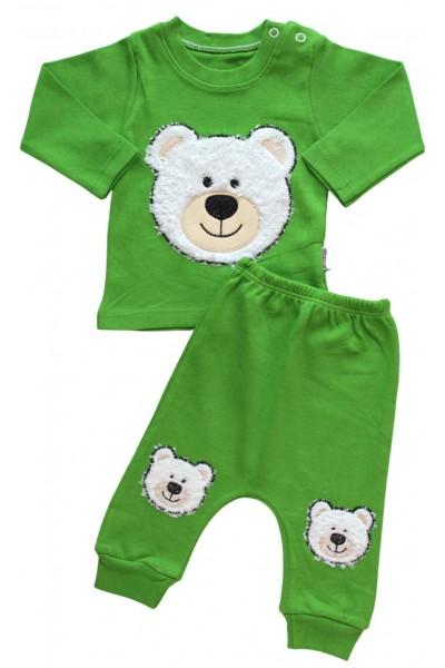 Compleu copii bumbac verde ursulet