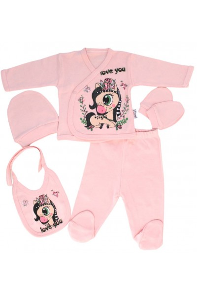 compleu bebe bumbac roz unicorn
