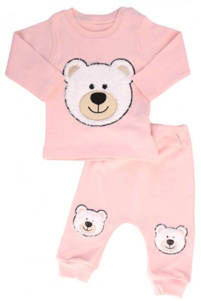 Compleu copii bumbac roz ursulet