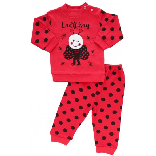 Compleu bebe bumbac rosu lady bug