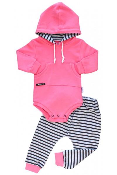 Compleu bebe bumbac roz