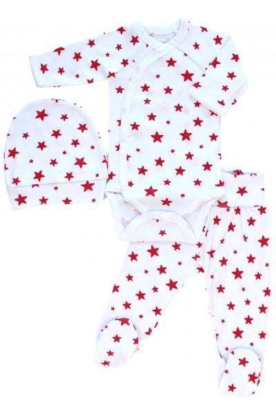 Compleu bebe bumbac stelute rosii