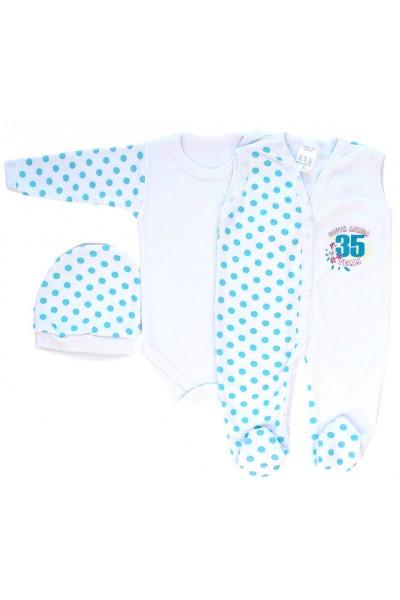Compleu bebe bumbac buline bleu