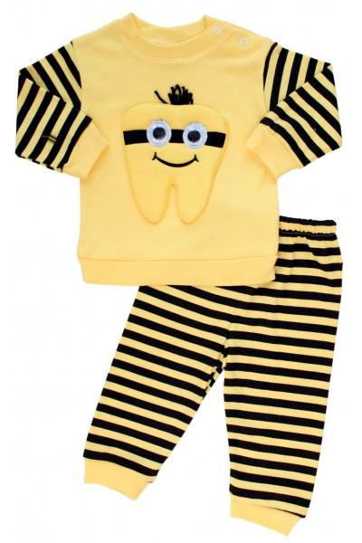 Compleu bebe bumbac galben dintisor