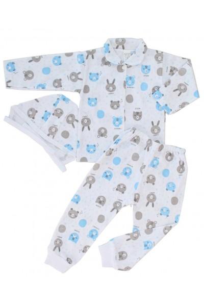 compleu pijamale bumbac subtire azuga cap urs albastru-gri