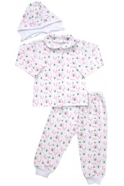 Compleu pijamale cap urs roz