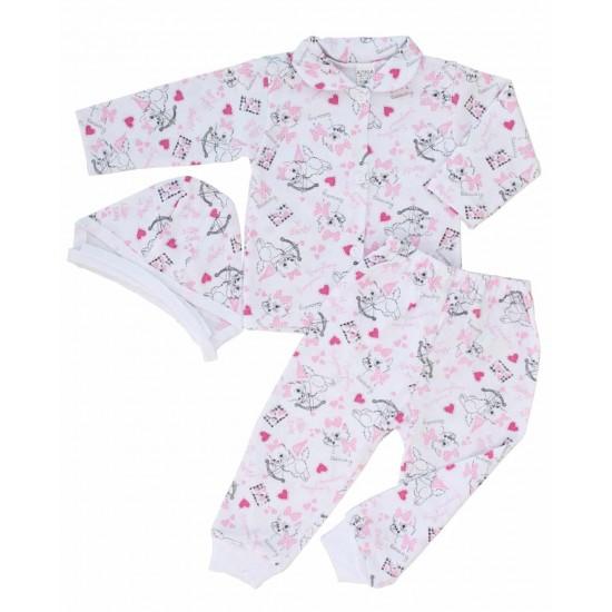 compleu pijamale bumbac subtire azuga pisicute roz