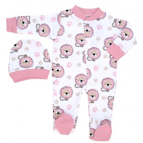 salopeta bebe bumbac caciulita leu roz
