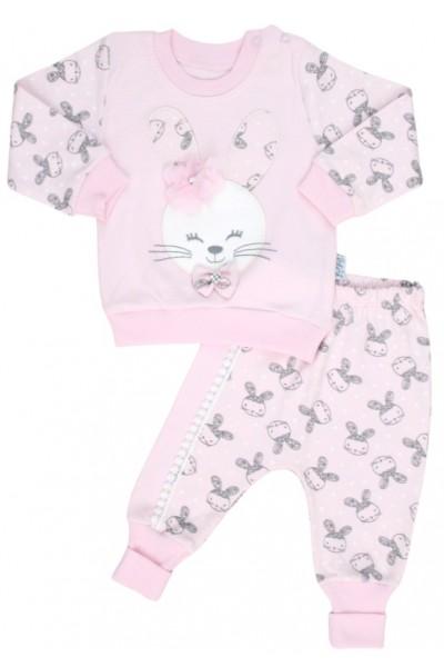 compleu bebe bumbac roz iepuras