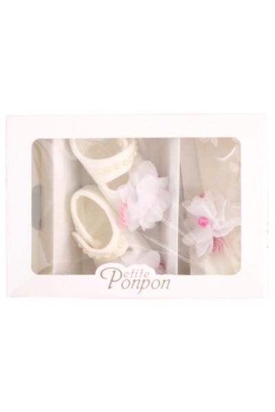 caseta 2 piese floare dantela alb bentita + pantofi
