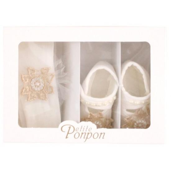 caseta 2 piese broderie dantela alb-auriu bentita + pantofi