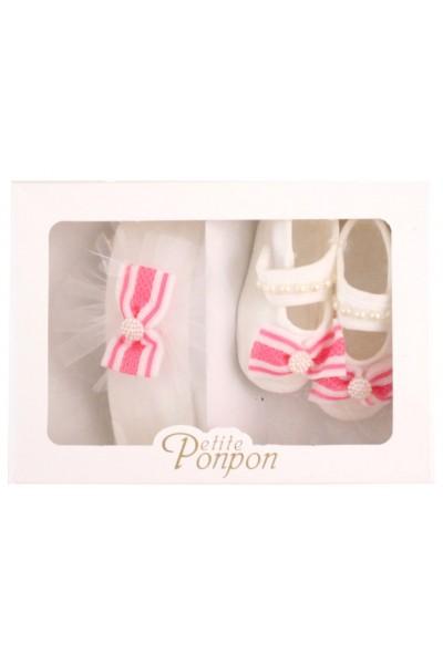 caseta 2 piese fundita roz dantela alba bentita + pantofi