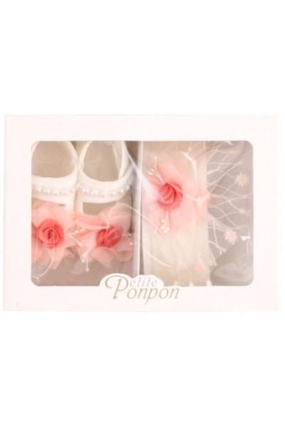 caseta 2 piese trandafir dantela roz bentita + pantofi