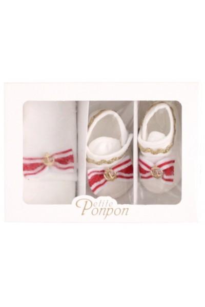 caseta 2 piese ancora rosu caciula + pantofi