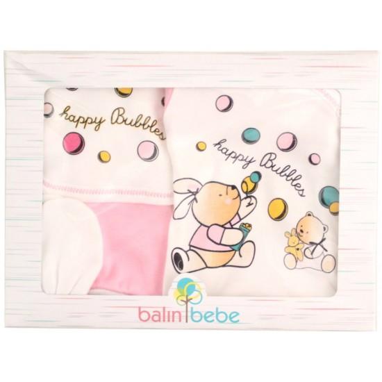 caseta cadou 5 piese happy bubbles roz