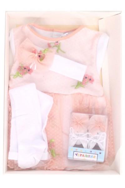 Caseta cadou rochita + bentita + dres + pantofi model floral