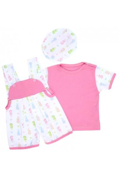 salopeta bebe bumbac roz caluti mare