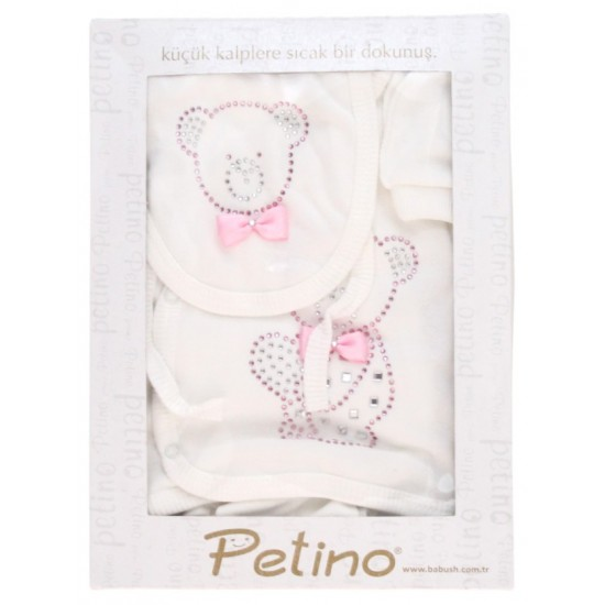 caseta cadou compleu cinci piese alb petino ursulet roz