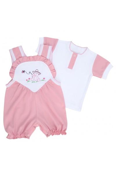 compleu bebe bumbac salopeta + tricou roz pal model brodat ursulet