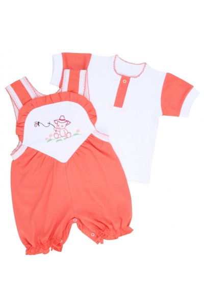 compleu bebe bumbac salopeta + tricou roz piersica model brodat ursulet