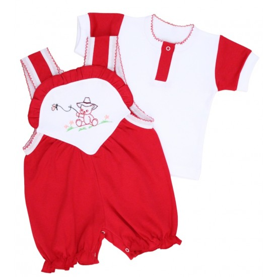 compleu bebe bumbac salopeta + tricou rosu model brodat ursulet