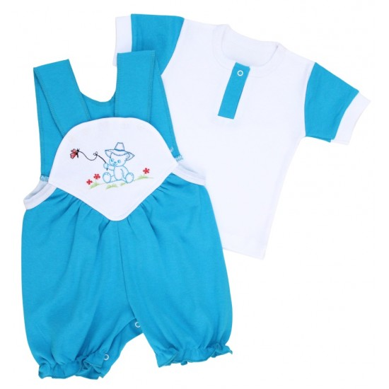 compleu bebe bumbac salopeta + tricou albastru model brodat ursulet