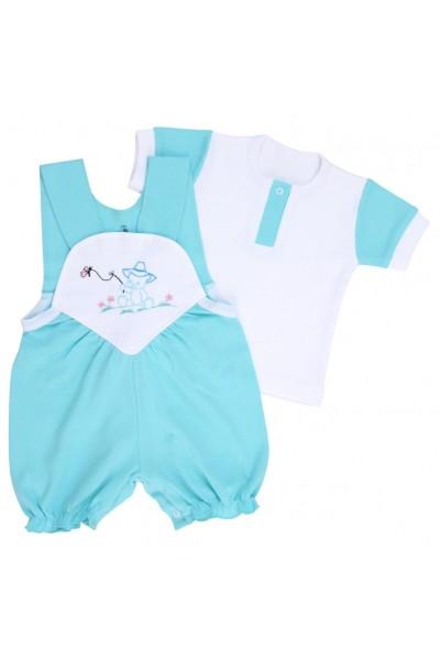 compleu bebe bumbac salopeta + tricou bleu model brodat ursulet