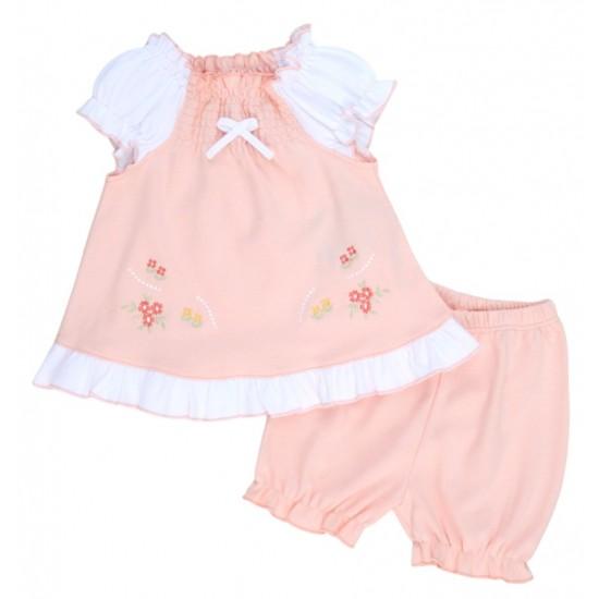 compleu bebe bumbac pantaloni scurti + bluza roz somon model brodat