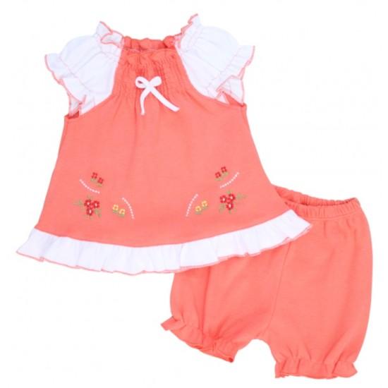 compleu bebe bumbac pantaloni scurti + bluza roz piersica model brodat