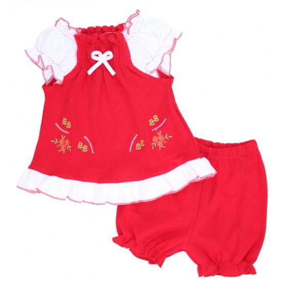 compleu bebe bumbac pantaloni scurti + bluza rosu model brodat