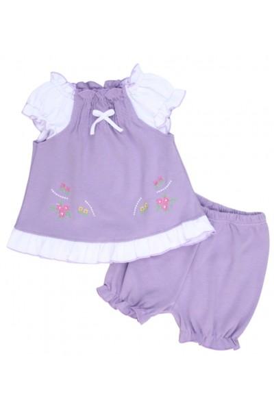 compleu bebe bumbac pantaloni scurti + bluza lila model brodat
