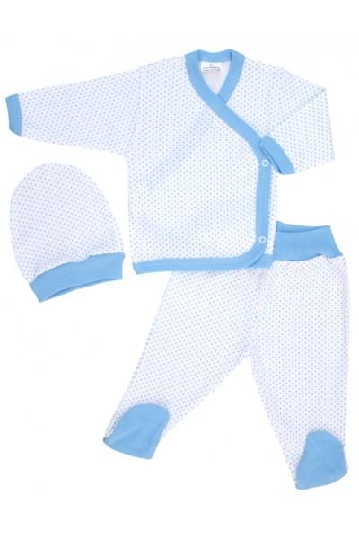 costumas bebe bumbac alb buline bleu