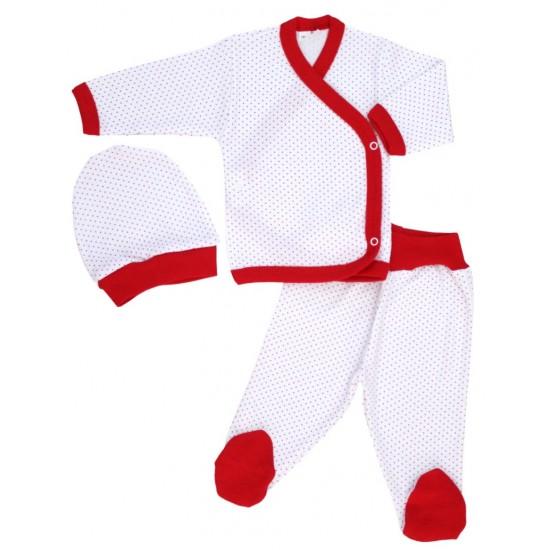 costumas bebe bumbac alb buline rosii