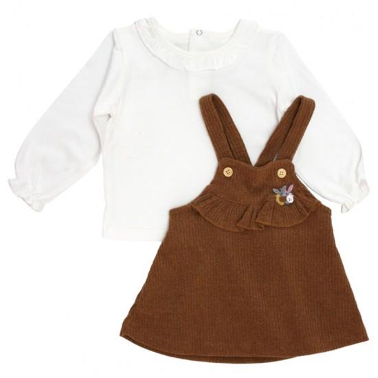 Set fetite bluza si sarafan galben mustar