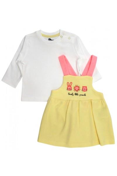 Set fetite bluza alba  si sarafan galben
