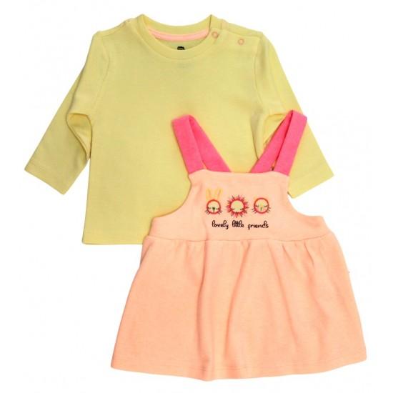 Set fetite bluza galbena si sarafan roz piersica