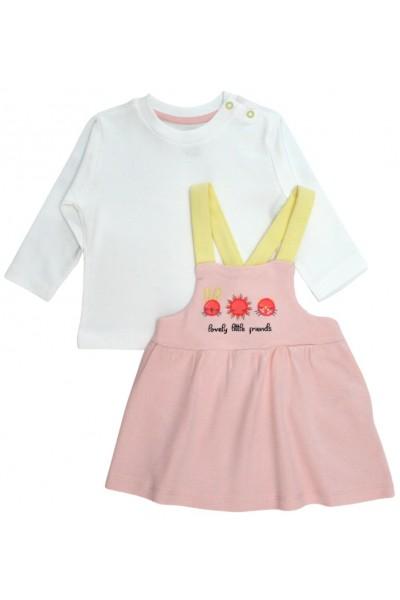 Set fetite bluza si sarafan roz si galben