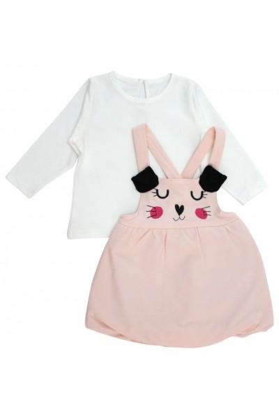Set fetite bluza si sarafan roz pisicuta
