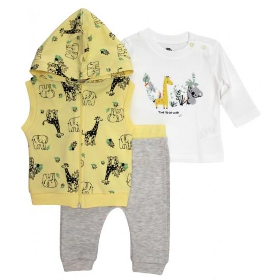 Compleu 3 piese bebe bumbac safari vesta galbena