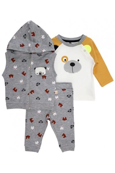 Compleu 3 piese bebe bumbac cool panda vesta gri