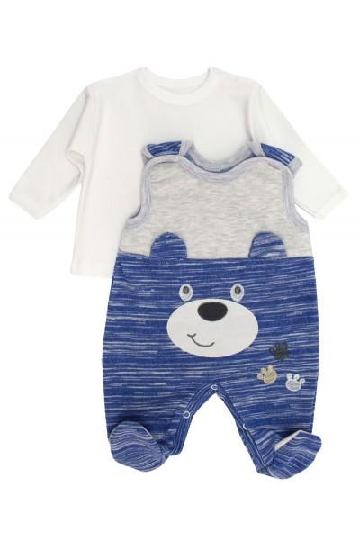 Salopeta + bluza bebelusi ursulet albastru