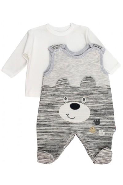 Salopeta + bluza bebelusi ursulet gri