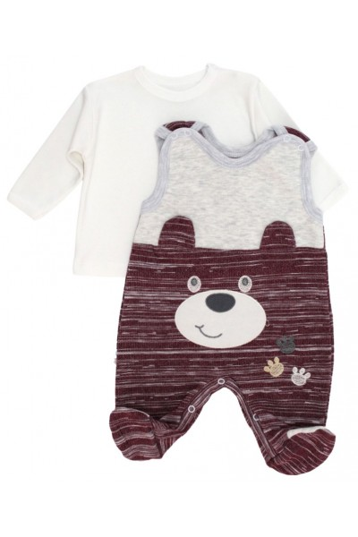 Salopeta + bluza bebelusi ursulet grena