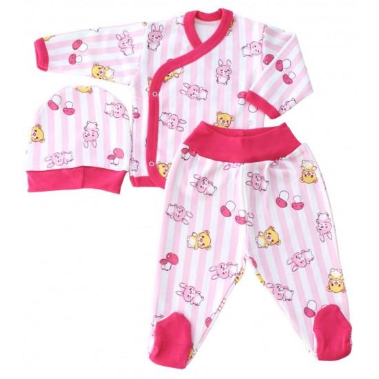costumas bebe bumbac roz ursuleti