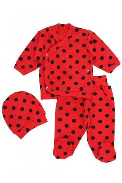 Compleu bebelusi 3 piese bumbac rosu buline negre