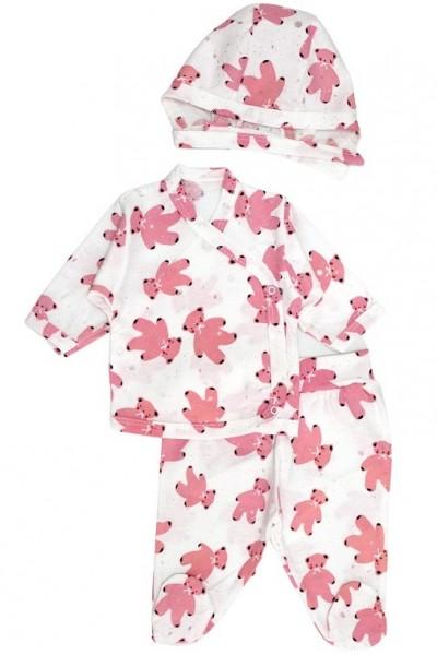 Compleu bebelusi 3 piese bumbac alb ursuleti roz