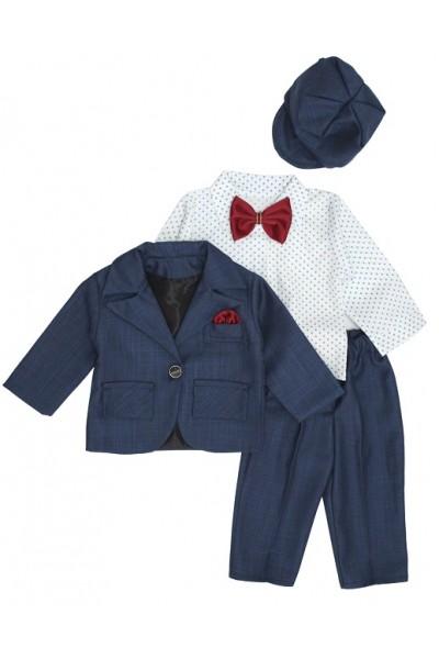 Costum botez bleumarin camasa alba buline
