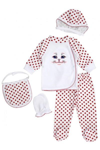 Compleu bebe bumbac 5 piese pisicuta buline rosu
