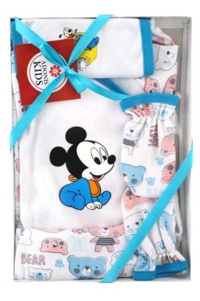 Caseta cadou 5 piese albastru baby mouse