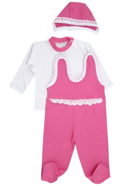 Compleu bebe bumbac 3 piese roz